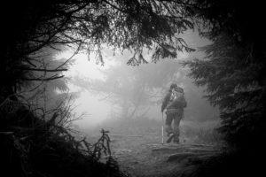 Climbing in the fog.